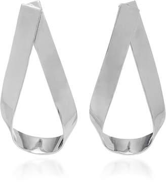 Jennifer Fisher Script Doorknocker Silver Rhodium-Plated Earrings