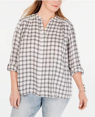 Style&Co. Style & Co Plus Size Cotton Plaid Smocked Shirt