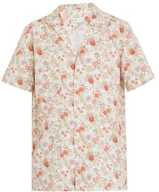 Etro Short Sleeved Floral Print Cotton Blend Shirt - Mens - Multi