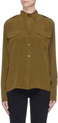The R Collective Folded back yoke epaulette silk shirt