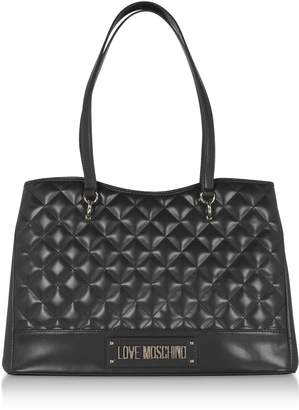 Love Moschino Black Quilted Eco-leather Tote Bag