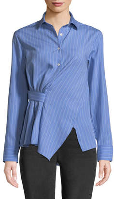 Palmer Harding palmer//harding Asymmetric Striped Button-Front Shirt