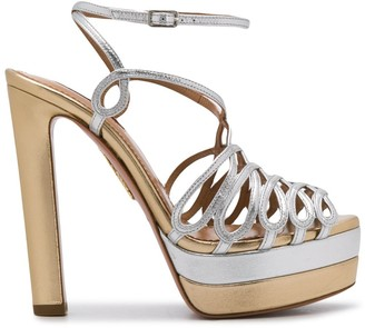 Aquazzura monroe plateau metallic sandals