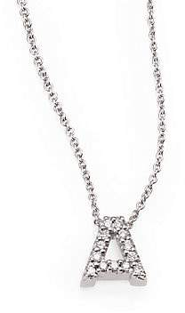 Roberto Coin Women's Tiny Treasures Diamond& 18K White Gold Love Letter Initial Pendant Necklace
