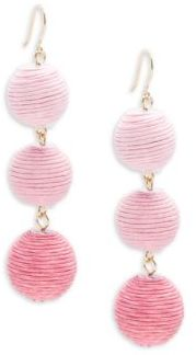 Triple Drop Pom-Pom Earrings $38 thestylecure.com