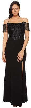 Adrianna Papell Fringe Knit Crepe Off the Shoulder Gown Women's Dress