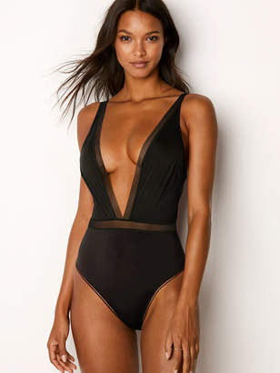 Victoria's Secret Victorias Secret Mesh Plunge Bodysuit
