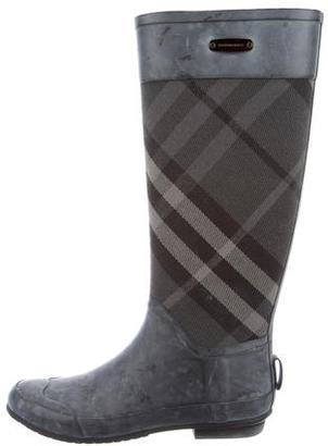 Burberry Canvas-Accented Rain Boots $175 thestylecure.com