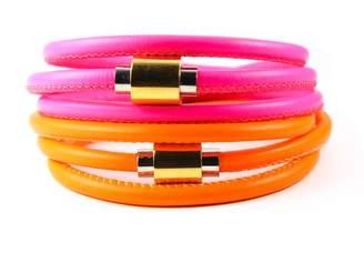 """Liza Schwartz Jewelry Bright Leather Wrap Bracelet """"Neon Flash"""""""
