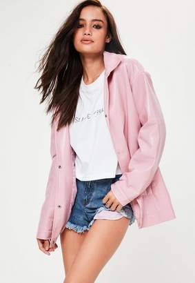 Missguided Pink High Shine Jacket, Pink