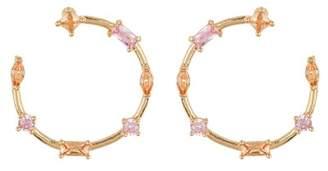 14th & Union Large Multi Stone Stud Hoop Earrings