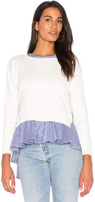 Endless Rose Sweater Combo Stripe Top in White $78 thestylecure.com