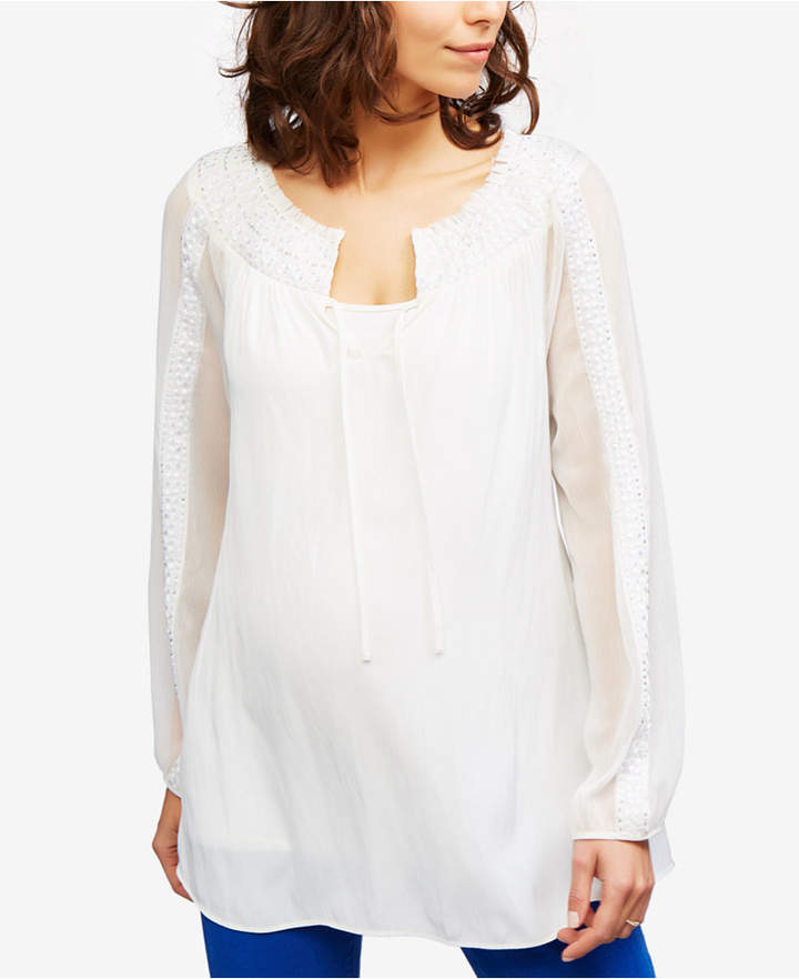 A Pea In The PodA Pea In The Pod Maternity Embellished Blouse