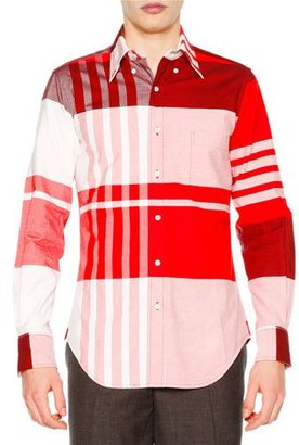 Thom Browne Oversized-Plaid Long-Sleeve Oxford Shirt, Red $690 thestylecure.com