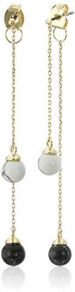 Noir Semi Precious Rhodium Sphere Hanging Front Back Earrings