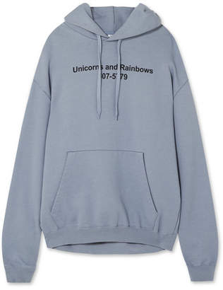 Unicorn Oversized Printed Stretch Cotton-jersey Hooded Top - Light blue