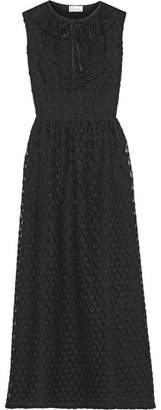 REDValentino - Point D'esprit-trimmed Lace Midi Dress - Black $760 thestylecure.com