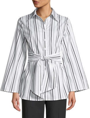 Neiman Marcus Striped Tie-Waist Button-Front Blouse