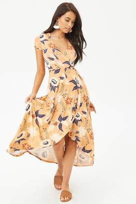 Forever 21 Floral Faux-Wrap High-Low Dress