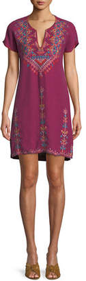 Johnny Was Veisia Embroidered Linen Tunic Dress, Plus Size