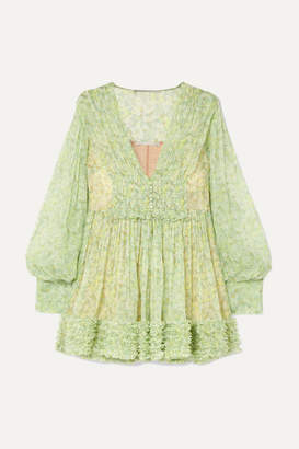 Stella McCartney Ruffled Floral-print Silk-crepon Mini Dress - Green