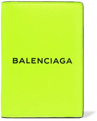 Balenciaga Printed Neon Leather Passport Cover - Yellow
