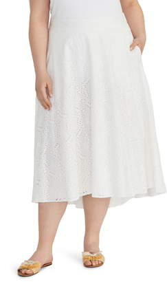 Rachel Roy Collection Eyelet Cotton Midi Circle Skirt