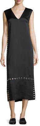 Elizabeth and James Leigh Grommet-Trim V-Neck Dress