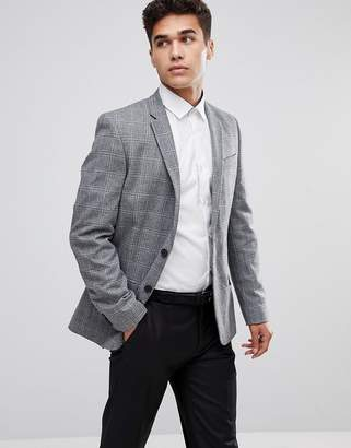 New Look Blazer In Wide Check Print In Gray