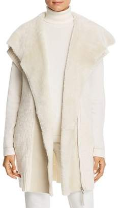 Lafayette 148 New York Shearling Collar Ribbed Cashmere Vest