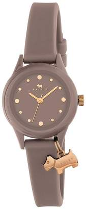 Radley Watch It! Grey Dial With Dog Charm Grey Silicone Strap Ladies Watch