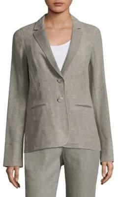 Lafayette 148 New York Women's Vangie Linen Blazer - Fog Melange - Size 10