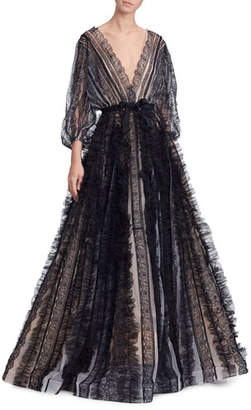 Marchesa Lace-Striped Billowing-Sleeve V-Neck Ball Gown