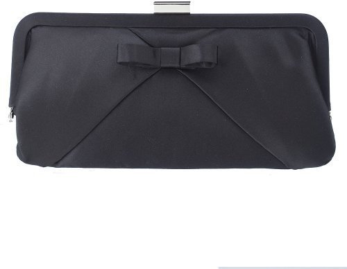 Satin Mini Bow Clutch - Black