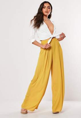 Missguided Mustard Pleat Front Wide Leg Pants