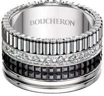 Boucheron Large Quatre Black Edition Diamond Band, Size 58