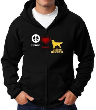 Golden Retriever Teeburon Peace, Love, Zip Hoodie