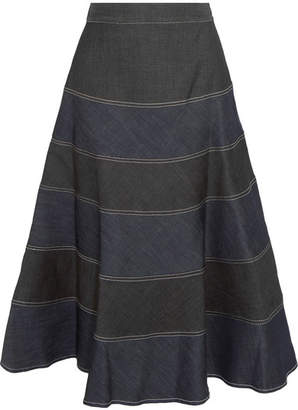 Vilshenko Matrona Striped Denim Midi Skirt - Black