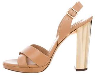 Salvatore Ferragamo Leather Ankle-Strap Sandals Brown Leather Ankle-Strap Sandals