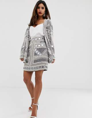 Asos Edition EDITION mirror and pearl mini skirt
