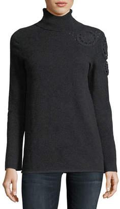 Neiman Marcus Asymmetric Crochet-Shoulder Cashmere Turtleneck