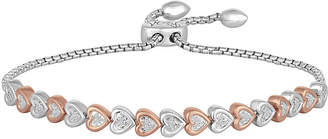 FINE JEWELRY Rhythm & Muse Womens 1/10 CT. T.W. Diamond Sterling Silver & 14K Rose Gold Over Silver Bolo Bracelet