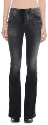 Unravel Lace-Up Flared-Leg Denim Jeans