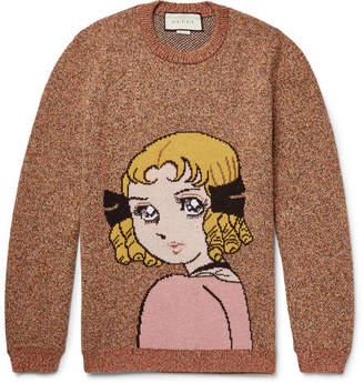 Gucci Oversized Intarsia Melange Wool Sweater - Men - Orange