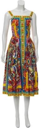 Dolce & Gabbana Sicilian Print Midi Dress Yellow Sicilian Print Midi Dress