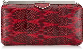 Jimmy Choo ELLIPSE Red Glossy Watersnake Clutch Bag