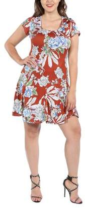 24/7 Comfort Apparel 24Seven Comfort Apparel Lani Red Short Sleeve Plus Size Dress