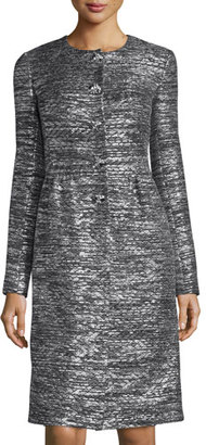 St. John Collection Painted Metallic Knit Topper, Caviar/Silver Shimmer Multi $2,895 thestylecure.com