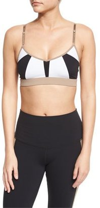 Alo Yoga Trace 2 Colorblock Sports Bra, White/Black/Gravel $54 thestylecure.com