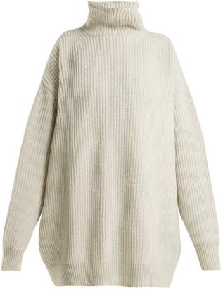 Raey Displaced-sleeve ribbed roll-neck wool sweater